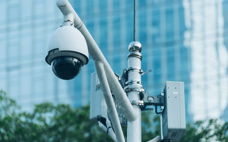 CCTV security camera in city of China.